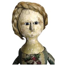 Early Antique Georgian Queen Anne  Wood Doll