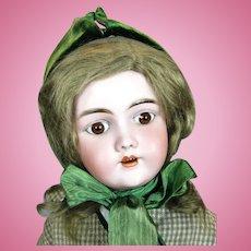 Antique Heinrich Handwerck 99 German Bisque Head Doll with Original Wig