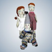 Vintage Handmade Brother Sister Cloth Dolls and Clown ~ Group of Three