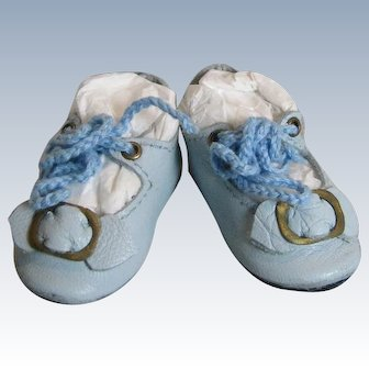 Small Artisan Made Blue Leather Doll Shoes with Toe Buckle