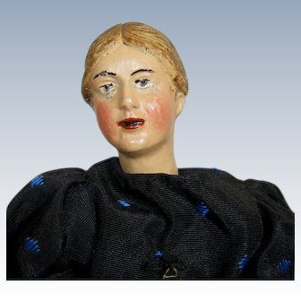 """1920s 7 1/2"""" Swiss Bucherer Articulated Metal and Composition Figure Doll"""