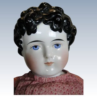 """Antique 29"""" China Head Doll with Fancy Hair Style ~  Molded Bow"""