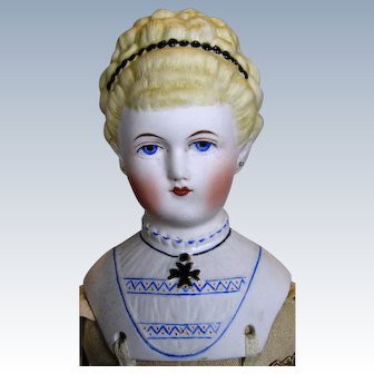 Early Emma Clear Parian-Type Untinted Bisque Doll