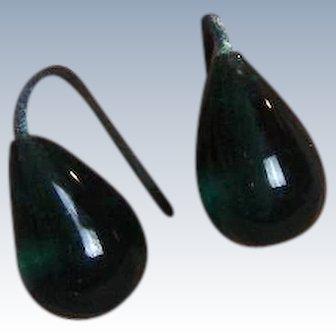 Antique Green Glass Doll Earrings