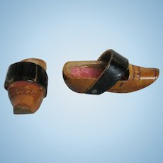 Small 19th Century Wooden Doll Shoes with Heels for French Fashion Or Provincial Doll