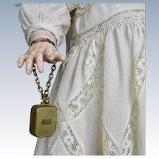 Antique Miniature Swiss Music Box Doll Bracelet Charm REUGE PAT.  S.T.E CROIX SWISS