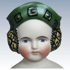 Gorgeous Artisan Bisque Doll Head with Hat and Side Snoods