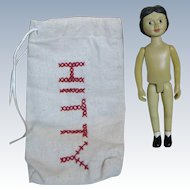 Robert Raikes Wood Hitty Doll with Bag for you to Dress