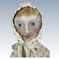 """Large 24"""" Antique Americana Oil Painted Cloth Doll"""