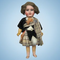 "Antique 7"" German Scottish Bisque Head Doll"
