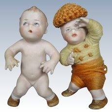 Pair Gebruder Heubach Action Position Bisque Baby Babies