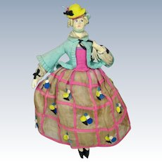 """Rare 13"""" Lenci Miniature Boudoir Type Felt Cloth Doll"""