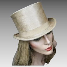 Rare 1910 Silk Plush Beaver Ivory Champagne Ladies Top Hat ~ A. Casse Paris