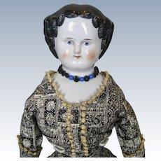 "Antique 19"" Glazed German China Head Doll w Great Clothing!"