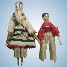 Two All Original 1820s Wood Peg Jointed Grodnertal German Dolls, Doll House Size