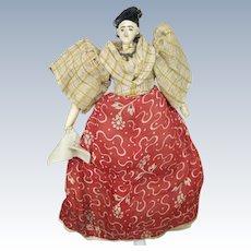 "Antique  7"" Primitive Cloth Doll, A/O, Needle Sculpted Nose"