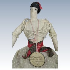 Antique Primitive Child Made Cloth Doll, Circa 1890 with Provenance