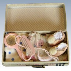 1950s Vintage Vogue Ginny Suitcase with Content: Pom Pom Slippers, Robe, Gown, Belt, Mirror & Comb