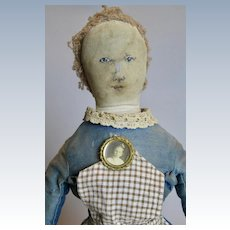 """Antique 17"""" Americana Ink Drawn Painted Face Cloth Doll"""