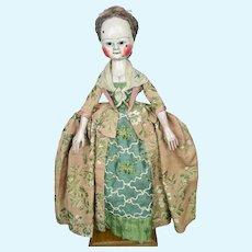 """Early 16"""" Old Pretenders Queen Ann Type Artisan OOAK Wooden Doll"""