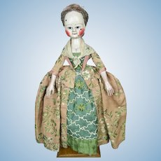 "Early 16"" Old Pretenders Queen Ann Type Artisan OOAK Wooden Doll"