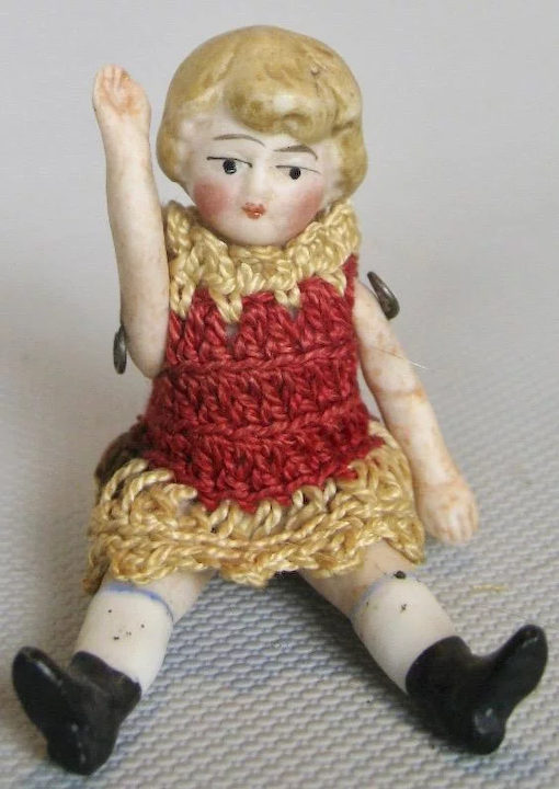 Carl Horn Miniature German Bisque Doll House Doll Crochet Dress