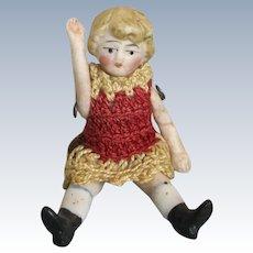 Carl Horn Miniature German Bisque Doll House Doll Crochet Dress