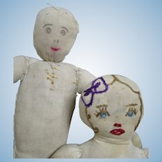 Two Small Vintage American Cloth Dolls ~ Ink and Embroidered Face