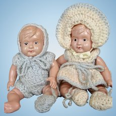 Pair Cutest Celluloid Brother Sister Baby Dolls Occupied Japan