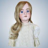 "Antique 27"" German Bisque Head Walkure Doll ~ Sweet Antique Dress!"