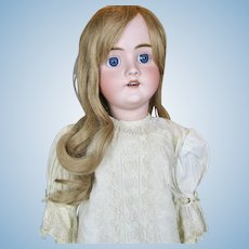 "Antique 27"" German Bisque Head Walkure Doll ~ Sweet Antique Dress!"