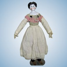 "Antique 11"" China Head Doll ~ Stitched Separate Fingers, Leather Boots"