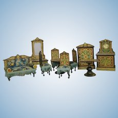 Antique Lithograph German Miniature Doll House Furniture