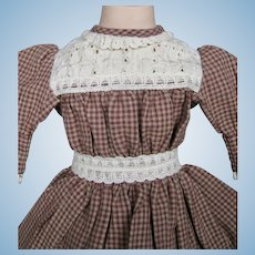 Nice Gingham Artisan Dress Dress for Antique German Doll