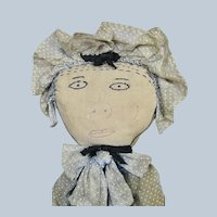 Unusual Antique Americana Cloth Doll with Stitched Features