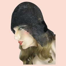 Incredible Black Lace Horsehair 1920s Deco Flapper Cloche Hat