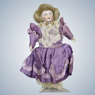 """Antique All Original 5"""" German Doll House Lady Doll with Wig"""
