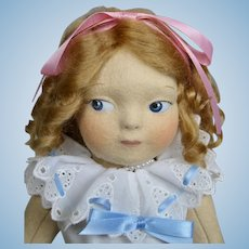 Haut Melton Artist Felt Doll Ritzy ~ Based on Rose O'Neill Kewpie Illustrations