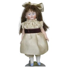 """Antique German 5"""" All Bisque Girl Doll"""