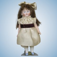 "Antique German 5"" All Bisque Girl Doll"