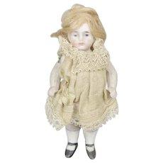 "Antique 3.5"" All Bisque German Doll House Doll Original Dress"