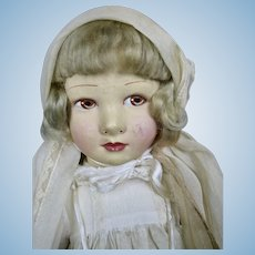 "18"" French Raynal Cloth Doll in Original Clothing 1930s"