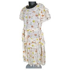 Vintage 1920s Girl's Teen Flapper Dress w Daisies