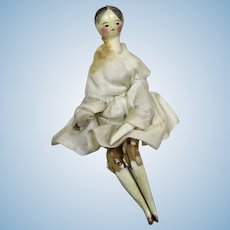 "Antique 3.5"" Early Grodnertal Wood Peg Doll House Doll"