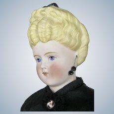 "Striking 21""Untinted Bisque Parian Type German Doll w Hairband"