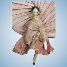 "Antique Early 3.3""  German Grodnertal Wood Peg Doll House Doll"