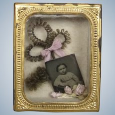 Miniature Hair Art Memento Shadowbox Picture for Antique Doll House or French Fashion Display