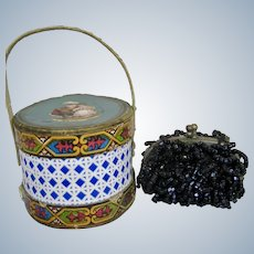 Antique French Fashion Doll Beaded Purse and Hat Box Candy Container