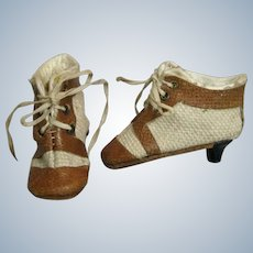 Antique French Fashion Heeled Doll Shoes Two Tone