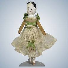 "Antique 4"" Peg Wooden Grodnertal Ballerina Doll"